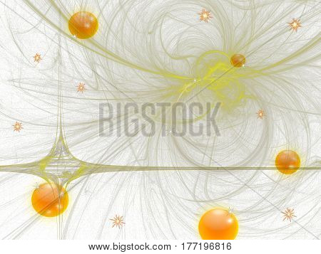 abstract background with Golden balls and yellow stains on white background