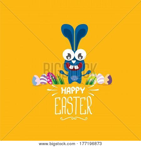 vector happy easter greeting card with eggs, funny easter bunny and hand drawn text. vector spring easter cartoon background