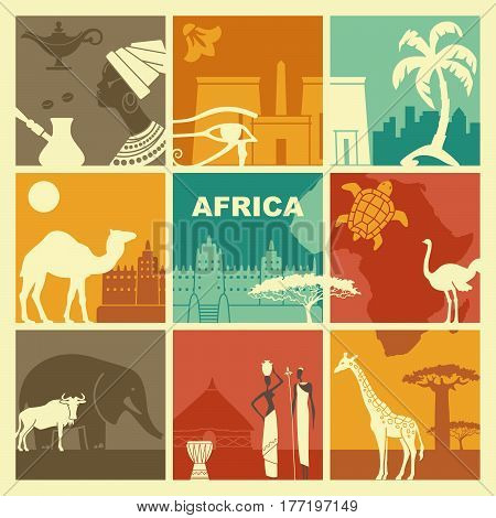 Traditional symbols of culture, architecture and nature of Africa