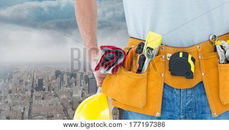 Digital composite of Carpenter against skyline