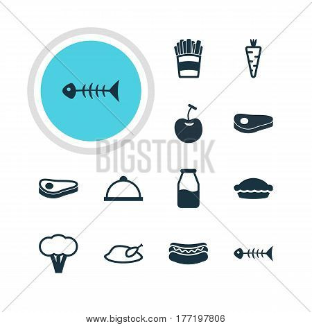 Vector Illustration Of 12 Food Icons. Editable Pack Of Platter, Sirloin, Veggie And Other Elements.