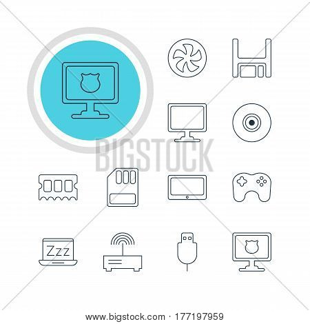 Vector Illustration Of 12 Laptop Icons. Editable Pack Of Laptop, Gamepad, Screen And Other Elements.