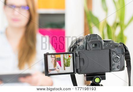 blog video camera vlog blogger recording blogging