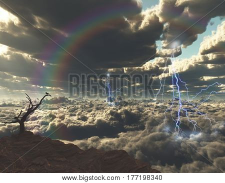 Lightning on a sunrise. Bird on a dry branch.  3D Render