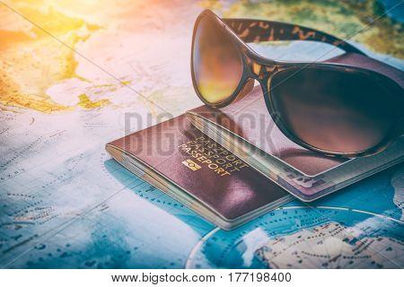 travel passport map holidays visa tourism booking sunglasses plan