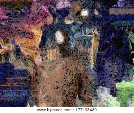 Abstract painting with faceless man.  3D Render