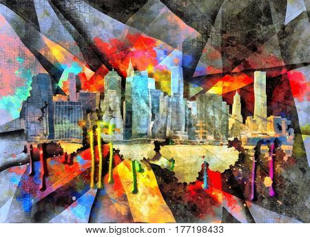 Oil paint, shadows and shapes  NYC Skyline 3D Render