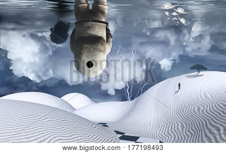 Astronaut stands in surreal white desert. Figure of man in a distance. Cloudy sky reflected in the ocean. Winged clocks represents flow of time.   3d render.   Some elements provided courtesy of NASA