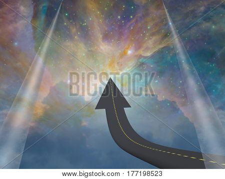 Road in arrow shape leads up. Universe on a background.   3d render.   Some elements provided courtesy of NASA