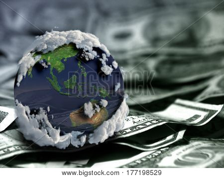 Globe on US dollars.   3d render.   Some elements provided courtesy of NASA