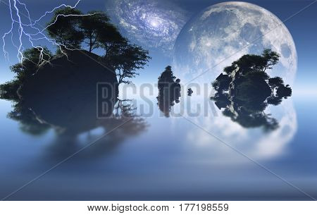 Small islands with green trees. Big moon rising.   3d render.   Some elements provided courtesy of NASA
