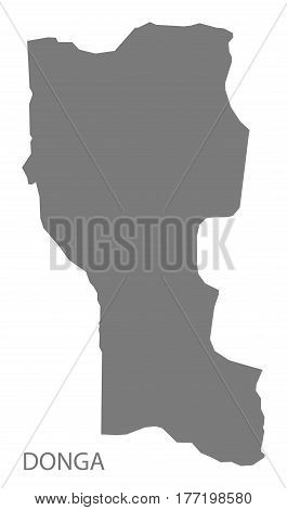 Donga Benin Department Map Grey Illustration Silhouette