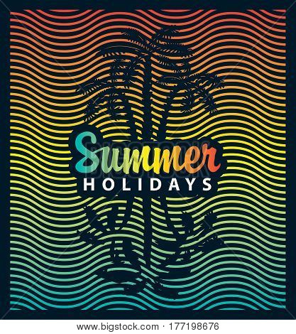 vector banner on the tourism theme with palm trees sea and the inscription summer holidays