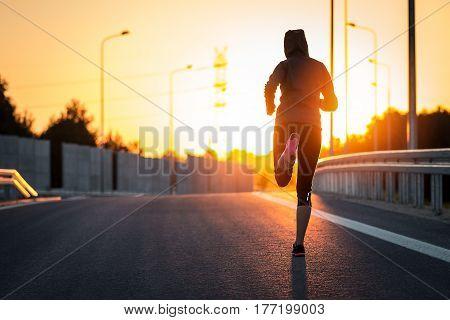 run runner sport shoe road jogging flare sunset street fitness
