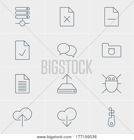 Vector Illustration Of 12 Internet Icons. Editable Pack Of Data Upload, Fastener, Removing File And Other Elements.