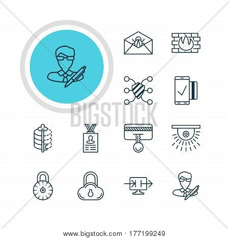 Vector Illustration Of 12 Data Icons. Editable Pack Of Copyright, Safe Lock, Camera And Other Elements.