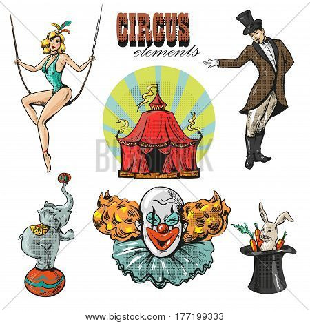 vintage hipster circus collection with carnival, fun fair, vector icons and background and illustration hand drawn