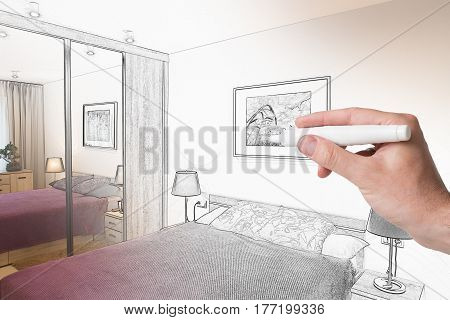 Hand drawing interior home. Designer concepts. Combination sketching and photo.