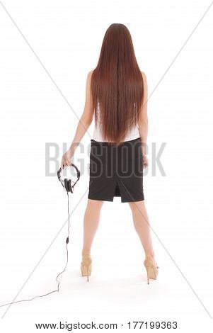 Creative customer service operator student girl with headset isolated on white background.
