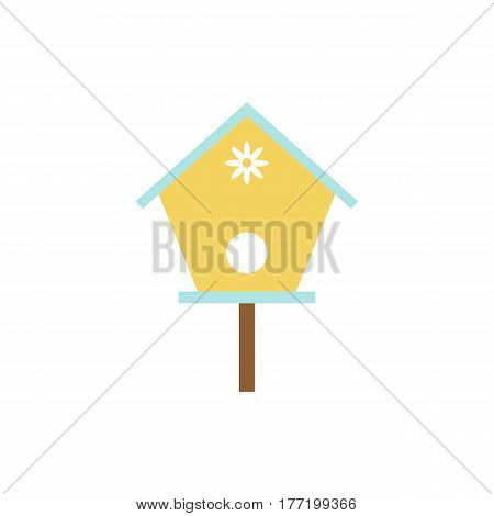 Simple vector icon of birdhouse with daisy.
