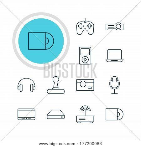 Vector Illustration Of 12 Accessory Icons. Editable Pack Of Joypad, Monitor, Game Controller And Other Elements.