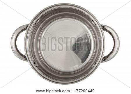 Empty shiny saucepan isolated on white background. View from above