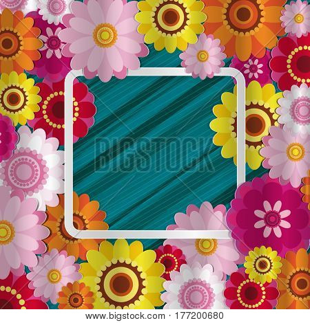 Spring congratulatory floral background. Festive paper flowers on a square light frame. Shaded noble turquoise background. Greeting card with a holiday on March 8, Mother's Day, birthday.