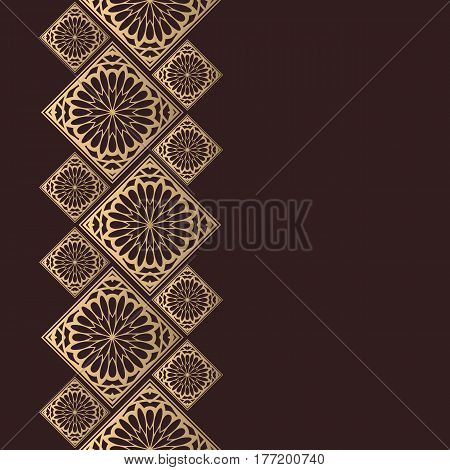 Golden frame in oriental style. Seamless border for design. Eastern background. Islamic card with place for text.