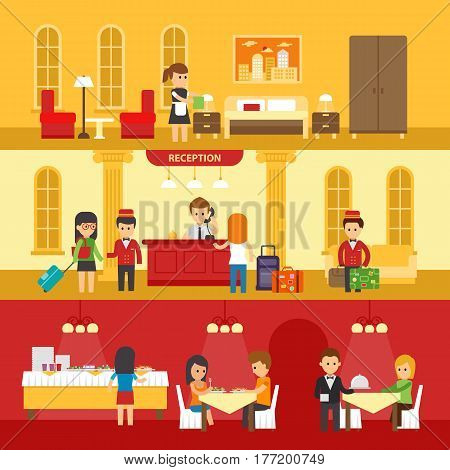 Hotel interior with people and hotel service vector flat illustration. Hotel reception, room, dining room vector design infographic elements. Hotel service banners hotel staff vector illustration