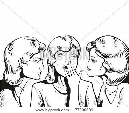 Pop art retro comic vector illustration. Woman whispering gossip or secret to her friend. Speech bubble.