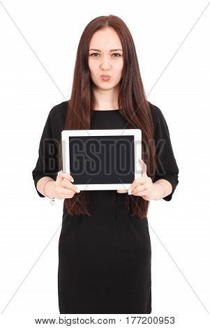 Teenage girl emotions. Girl showing a blank tablet screen isolated on white