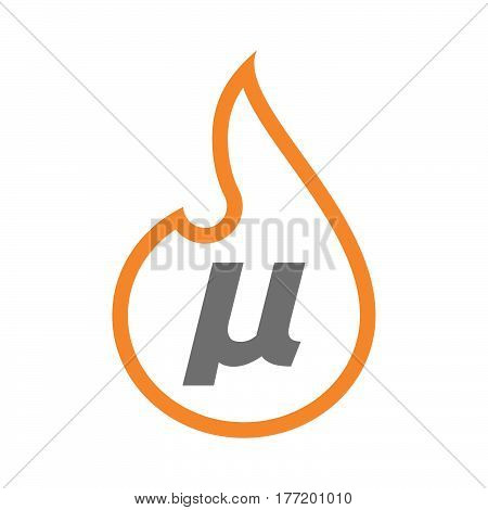 Isolated Flame With  A Micro Sign, Mu Greek Letter