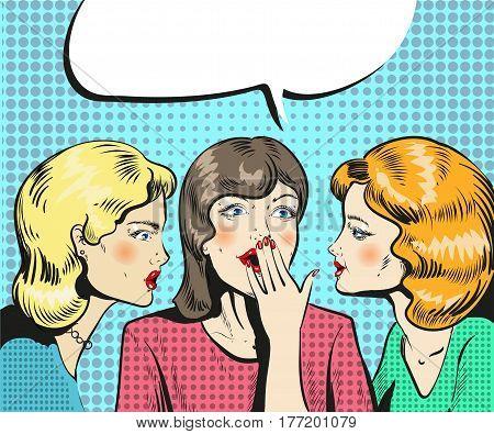 Women talking whispering pop art retro comic style vector illustration