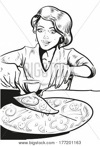 Woman eating pizza at home. Vector illustration in retro comic pop art style. stock