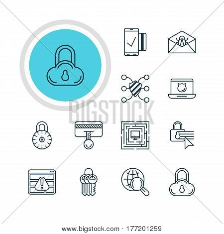 Vector Illustration Of 12 Internet Security Icons. Editable Pack Of Safety Key, Safeguard, Key Collection And Other Elements.