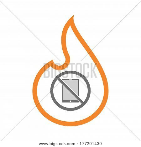 Isolated Flame With  A Tablet Pc  In A Not Allowed Signal