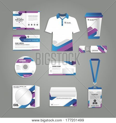 Set of corporate identity template with flyer brochure magazine uniform t-shirt cd badge poster design annual report layout. Branding stationery mock-up design.