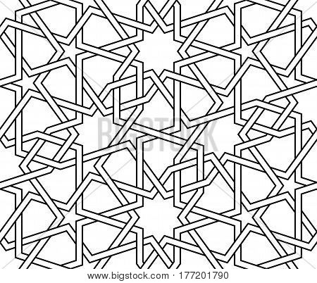 Islamic line pattern. Interlaced seamless vector geometric background in arabic style