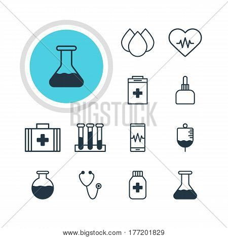 Vector Illustration Of 12 Medical Icons. Editable Pack Of Vial, Pulse, Heart Rhythm And Other Elements.