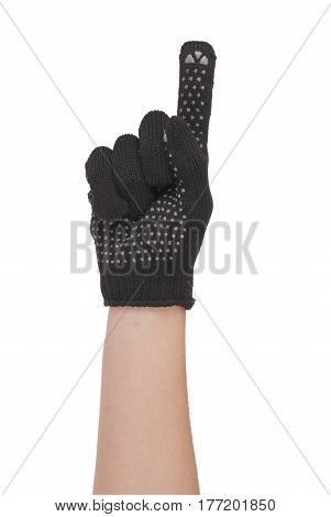 Gardener hand showing forefinger in resistance glove isolated on white background