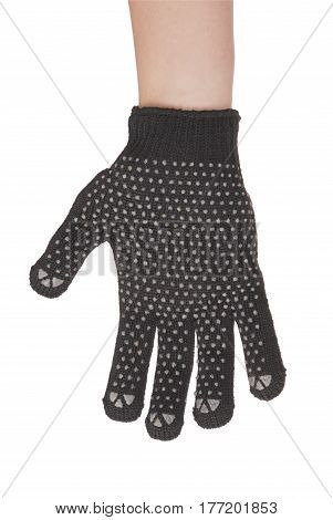Gardener hand in resistance glove which is located at the top of the screen isolated on white background