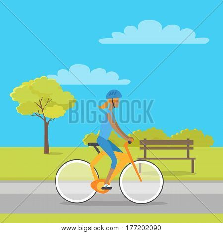 Leisure in city park concept. Woman in sport clothing and helmet riding bicycle in public square flat vector. Sport activities in open air, outdoor entertainments and healthy life style illustration