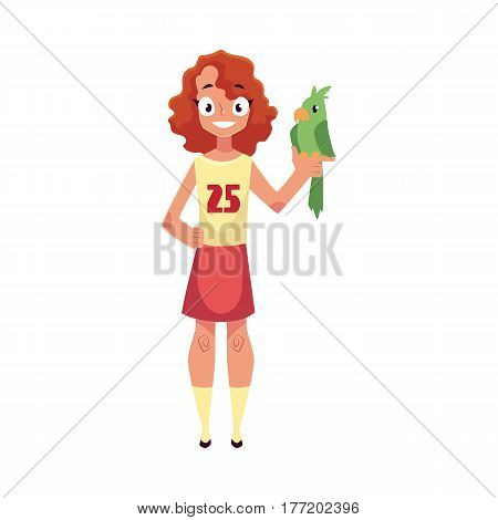 Teen, teenage girl standing and holding green parrot pet, friend, companion, cartoon vector illustration isolated on white background. Full length portrait of girl with green parrot pet