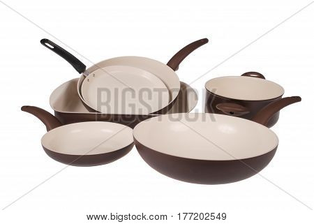 Set of kitchen in ceramic tableware isolated on white background with soft shadow. Clipping path