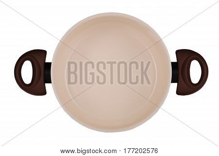 Brown ceramic pot isolated on white background with soft shadow. Clipping path