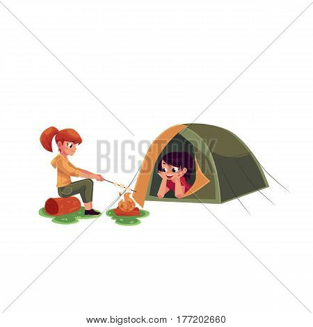 Girls frying marshmallow on fire and looking out of camping tent, cartoon vector illustration isolated on white background. Kids camping, hiking, lying in tent and frying marshmallow