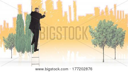Digital composite of Businessman on a Ladder against city background with trees