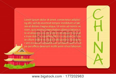 Chinese red building with yellow roof and green grass around web poster. Vector illustration of house in asian style, flat design. Special oriental construction for living in the East China banner
