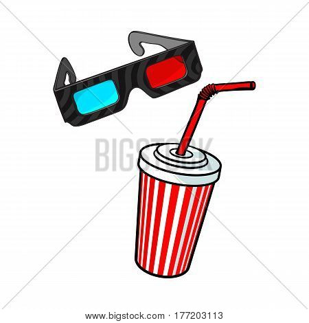 Cinema objects - 3d, stereoscopic glasses and soda water in striped paper cup, sketch vector illustration isolated on white background. Typical movie attributes like soft drink and 3d glasses