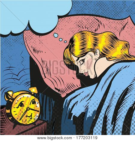 Woman sleeping with alarm waking up pop art comic style illustration vector